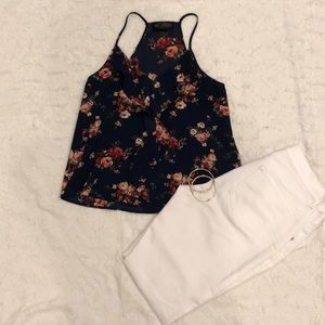 Beautiful navy blue floral top!